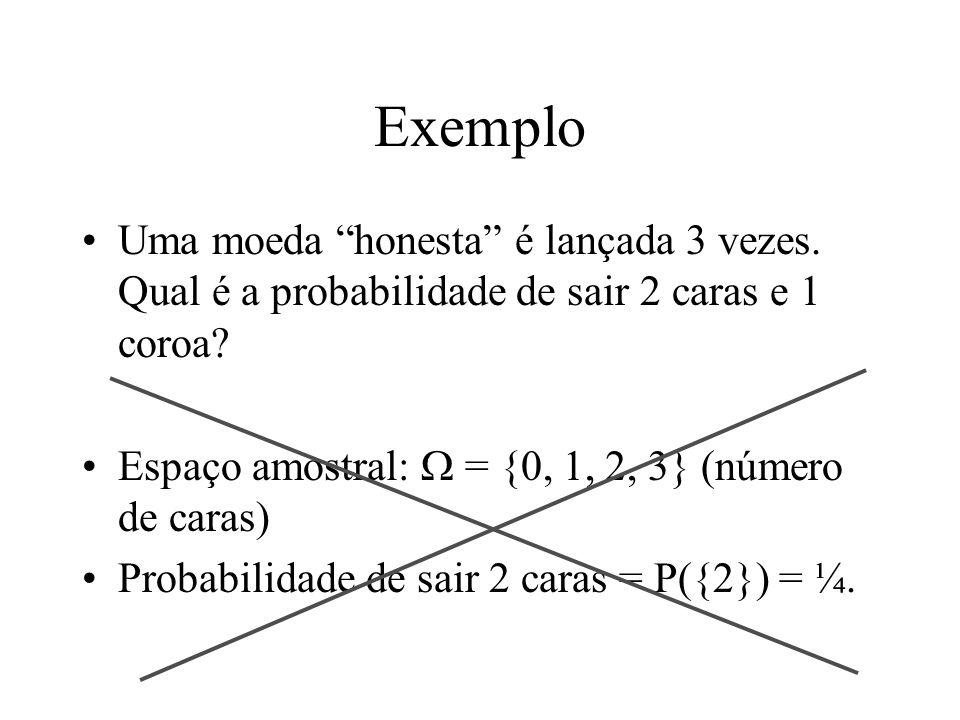 Exemplo Uma moeda honesta é lançada 3 vezes. Qual é a probabilidade de sair 2 caras e 1 coroa? Espaço amostral: = {0, 1, 2, 3} (número de caras) Proba