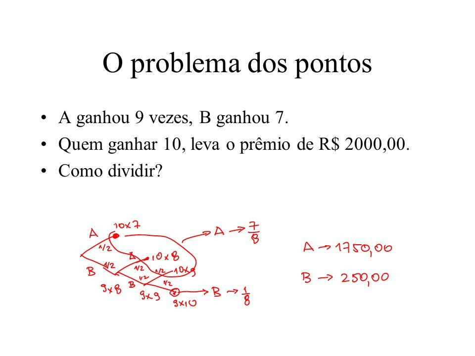 O problema dos pontos A ganhou 9 vezes, B ganhou 7. Quem ganhar 10, leva o prêmio de R$ 2000,00. Como dividir?
