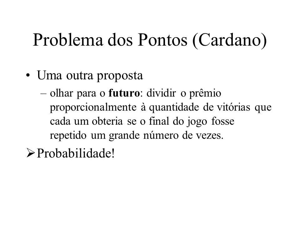 Problema dos Pontos (Cardano) Uma outra proposta –olhar para o futuro: dividir o prêmio proporcionalmente à quantidade de vitórias que cada um obteria