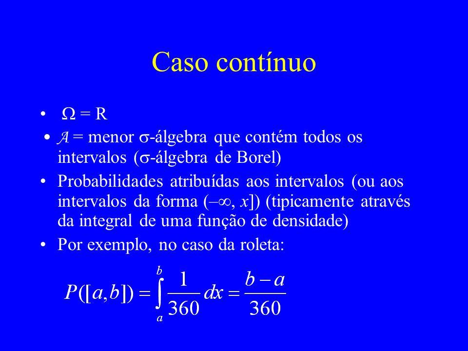 Caso contínuo = R A = menor -álgebra que contém todos os intervalos ( -álgebra de Borel) Probabilidades atribuídas aos intervalos (ou aos intervalos da forma (–, x]) (tipicamente através da integral de uma função de densidade) Por exemplo, no caso da roleta: