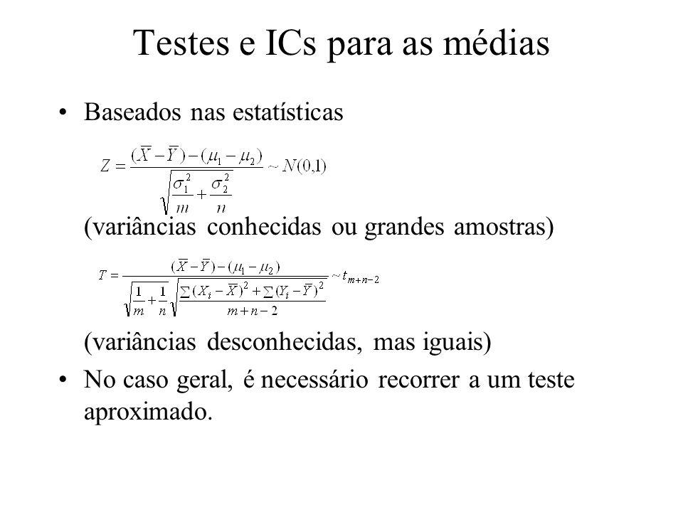 Testes e ICs para as médias Baseados nas estatísticas (variâncias conhecidas ou grandes amostras) (variâncias desconhecidas, mas iguais) No caso geral