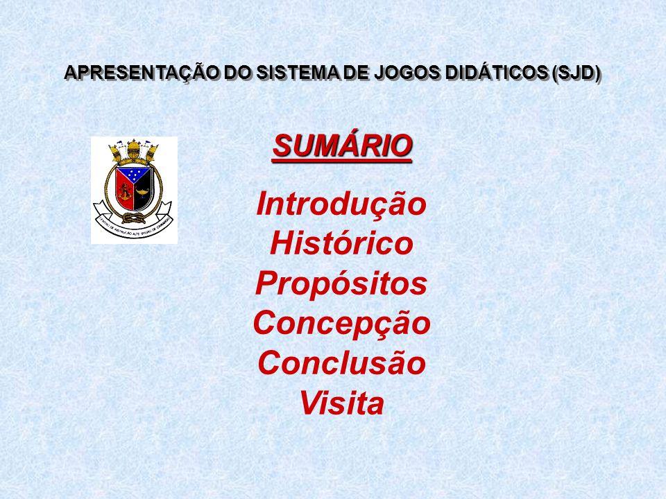 APRESENTAÇÃO DO SISTEMA DE JOGOS DIDÁTICOS (SJD) Introdução Histórico Propósitos Concepção Conclusão Visita SUMÁRIO