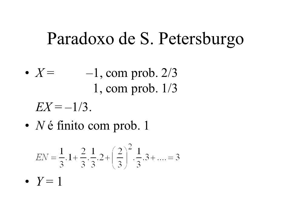 Paradoxo de S. Petersburgo X = –1, com prob. 2/3 1, com prob.