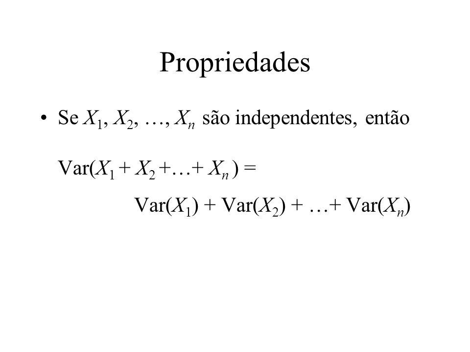 Propriedades Se X 1, X 2, …, X n são independentes, então Var(X 1 + X 2 +…+ X n ) = Var(X 1 ) + Var(X 2 ) + …+ Var(X n )