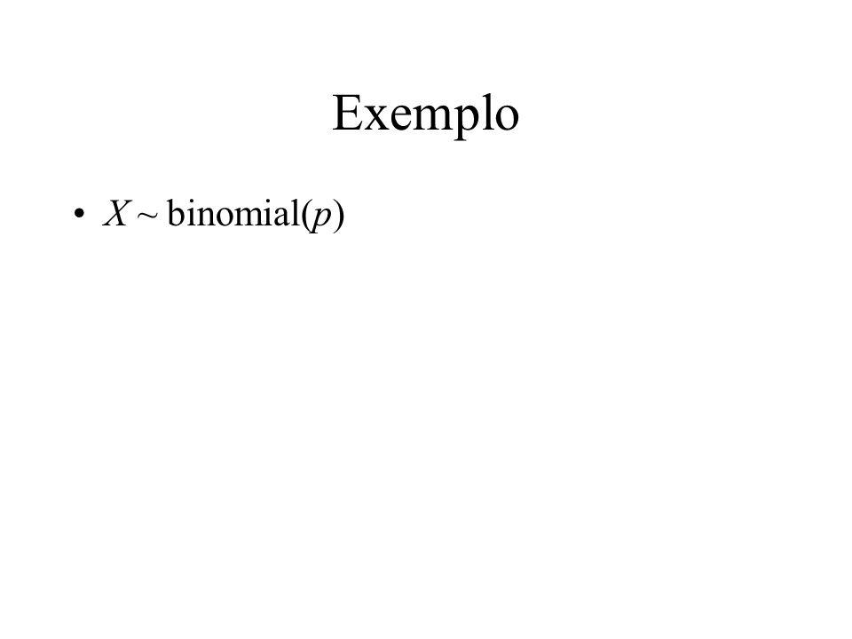 Exemplo X ~ binomial(p)