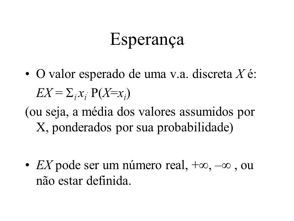 Esperança O valor esperado de uma v.a. discreta X é: EX = i x i.