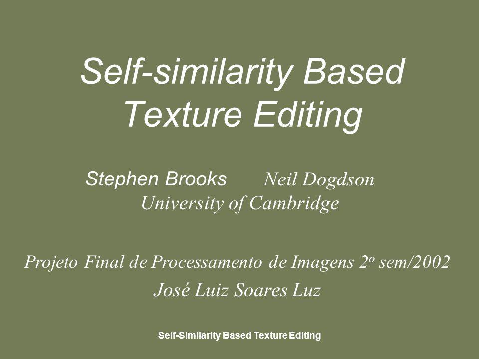 Self-Similarity Based Texture Editing Apresentação Objetivo Similarity-Based Editing Vizinhança, Métrica de distância, Similaridade Similarity-Based Painting Similarity-Based Cloning Similarity-Based Warping Interface