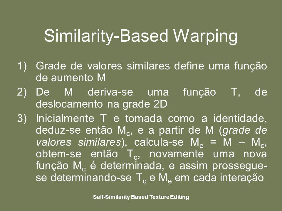 Self-Similarity Based Texture Editing Similarity-Based Warping 1)Grade de valores similares define uma função de aumento M 2)De M deriva-se uma função T, de deslocamento na grade 2D 3)Inicialmente T e tomada como a identidade, deduz-se então M c, e a partir de M (grade de valores similares), calcula-se M e = M – M c, obtem-se então T c, novamente uma nova função M c é determinada, e assim prossegue- se determinando-se T c e M e em cada interação