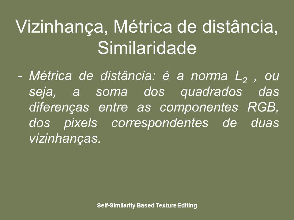 Self-Similarity Based Texture Editing Vizinhança, Métrica de distância, Similaridade - Métrica de distância: é a norma L 2, ou seja, a soma dos quadrados das diferenças entre as componentes RGB, dos pixels correspondentes de duas vizinhanças.