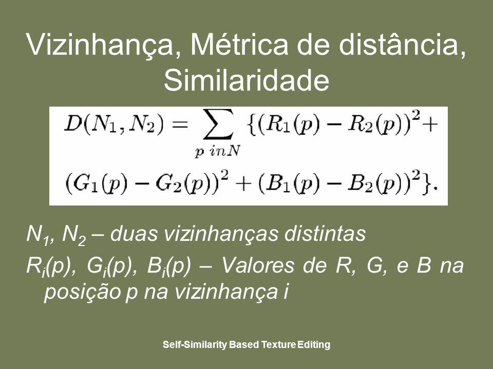 Self-Similarity Based Texture Editing Vizinhança, Métrica de distância, Similaridade - Similaridade: os pixels similares são aqueles cuja diferença entre suas respectivas vizinhanças locais e a pixel selecionado está dentro de um certo limite.