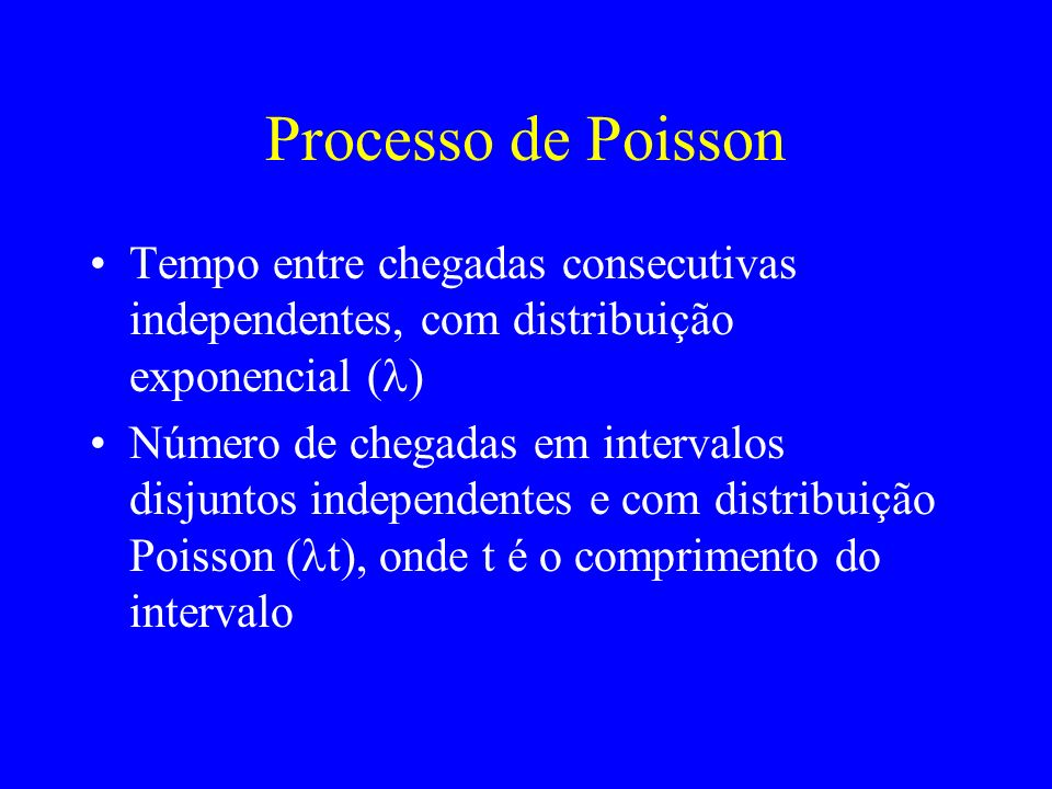 Processo de Poisson Tempo entre chegadas consecutivas independentes, com distribuição exponencial ( ) Número de chegadas em intervalos disjuntos indep