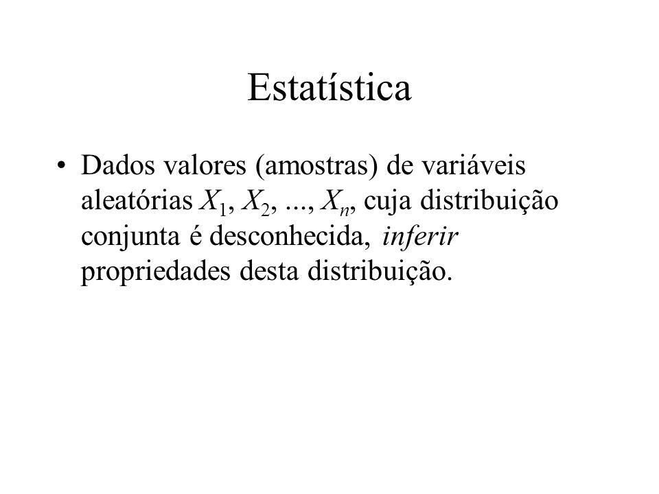 Estatística Dados valores (amostras) de variáveis aleatórias X 1, X 2,..., X n, cuja distribuição conjunta é desconhecida, inferir propriedades desta