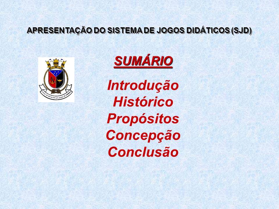 APRESENTAÇÃO DO SISTEMA DE JOGOS DIDÁTICOS (SJD) Introdução Histórico Propósitos Concepção Conclusão SUMÁRIO