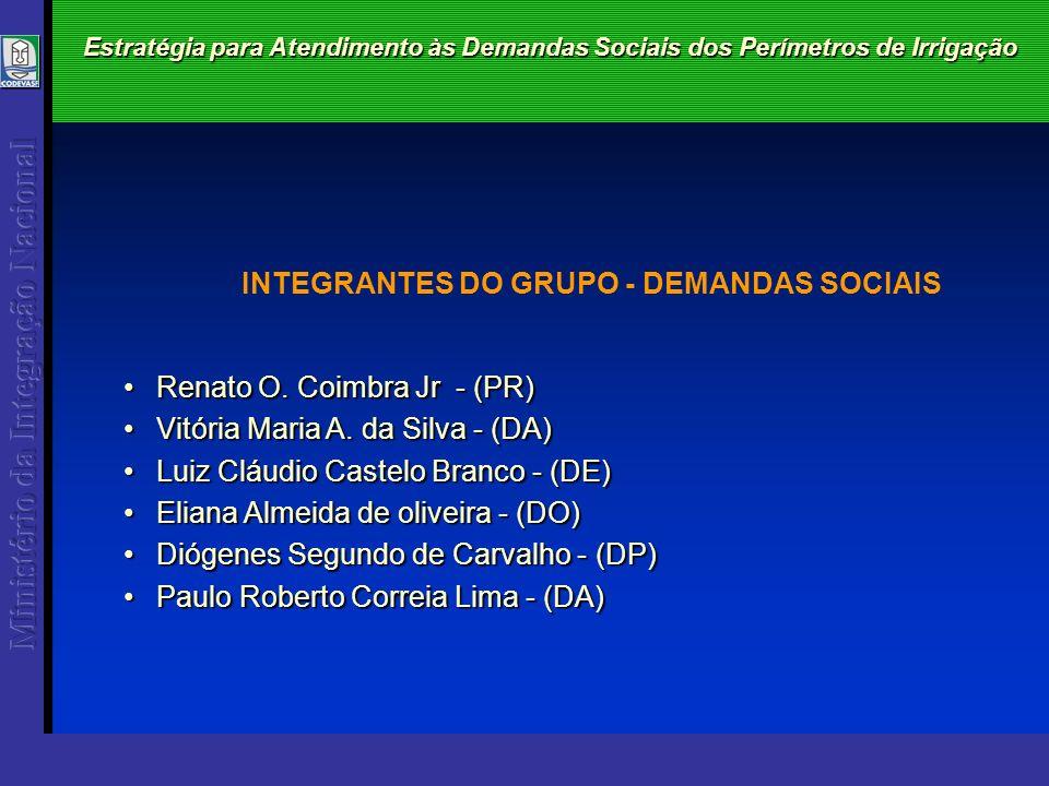 Estratégia para Atendimento às Demandas Sociais dos Perímetros de Irrigação Renato O. Coimbra Jr - (PR)Renato O. Coimbra Jr - (PR) Vitória Maria A. da