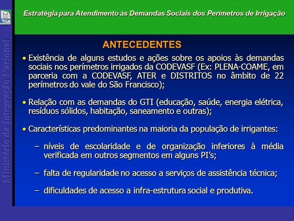 Estratégia para Atendimento às Demandas Sociais dos Perímetros de Irrigação Existência de alguns estudos e ações sobre os apoios às demandas sociais n
