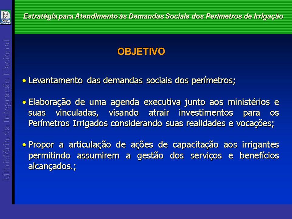Estratégia para Atendimento às Demandas Sociais dos Perímetros de Irrigação Levantamento das demandas sociais dos perímetros;Levantamento das demandas