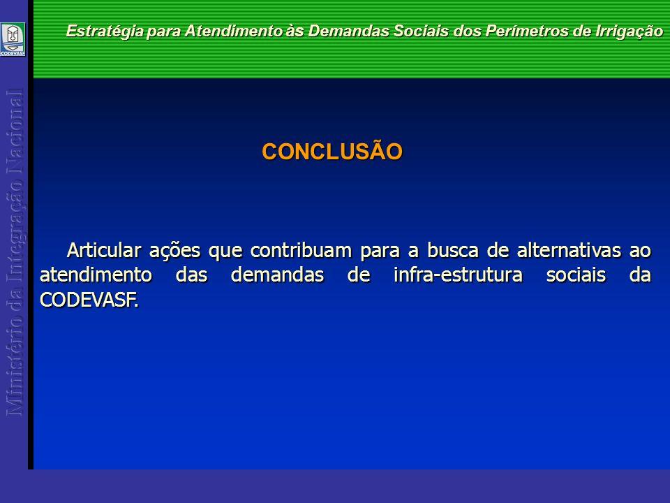 CONCLUSÃO Estratégia para Atendimento às Demandas Sociais dos Perímetros de Irrigação Articular ações que contribuam para a busca de alternativas ao atendimento das demandas de infra-estrutura sociais da CODEVASF.