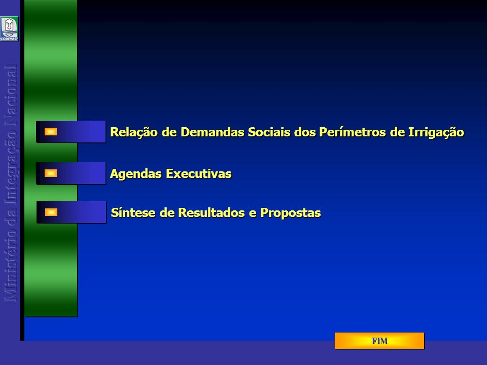 GTI – Demandas Sociais dos Perímetros de Irrigação Agenda Executiva - Energia Elétrica - - - DATA REUNIÃO 177.270.000 Coordenar o planejamento e a formulação de políticas setoriais e a avaliação e controle dos programas na área de energia Márcio Pereira Vinnermann 319-5019 / 319-5358 MME Gestão da Política de Energia 4.315.106 Ampliar a oferta de energia por meio de fontes renováveis em base auto-sustentável minimizando os impactos ambientais Lara Porto 319-5811 Augusto Machado 3319-5811 MME Energia Alternativa Renovável – Proinfa 3.521.176 Desenvolvimento Tecnológico e Industrial do Setor de Energia Elétrica Fátima Passos 319-5854 / 5022 fatima.passos@mme.gov.br MME Desenvolvimento Tecnológico do Setor de Energia LOA 2005DESCRIÇÃOCONTATOÓRGÃO PROJETO / PROGRAMA MENU PROGRAMAS MENU PROGRAMAS MENU PROGRAMAS MENU PROGRAMAS Fonte: PPA e Sites Oficiais dos Ministérios