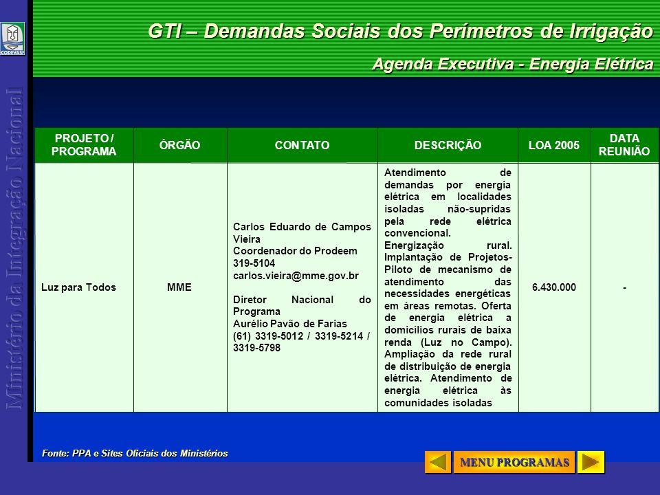 GTI – Demandas Sociais dos Perímetros de Irrigação Agenda Executiva - Energia Elétrica - DATA REUNIÃO 6.430.000 Atendimento de demandas por energia el