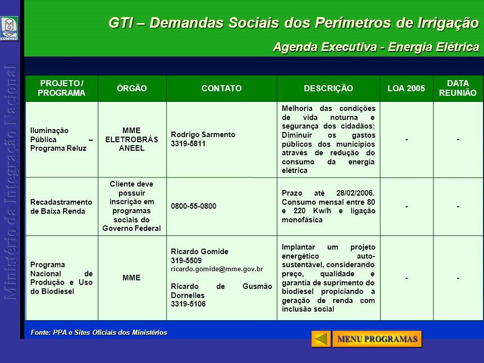 GTI – Demandas Sociais dos Perímetros de Irrigação Agenda Executiva - Energia Elétrica -- Implantar um projeto energético auto- sustentável, considera
