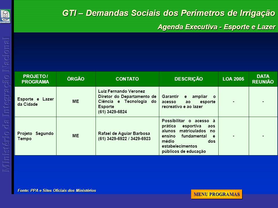 GTI – Demandas Sociais dos Perímetros de Irrigação Agenda Executiva - Esporte e Lazer -- Possibilitar o acesso à prática esportiva aos alunos matricul