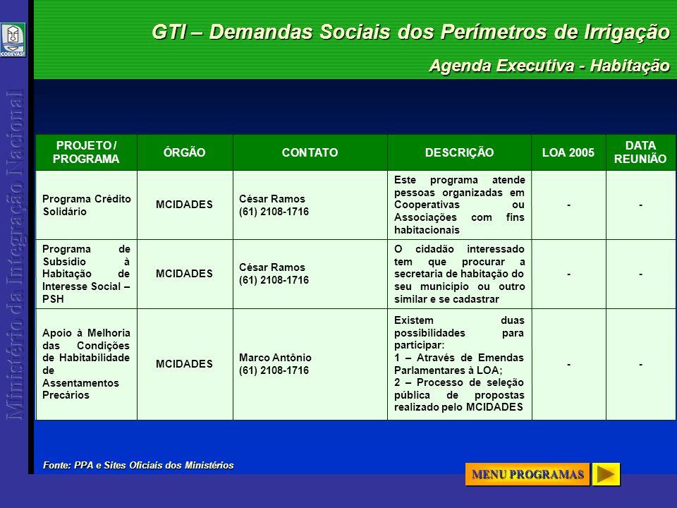 GTI – Demandas Sociais dos Perímetros de Irrigação Agenda Executiva - Habitação -- Existem duas possibilidades para participar: 1 – Através de Emendas