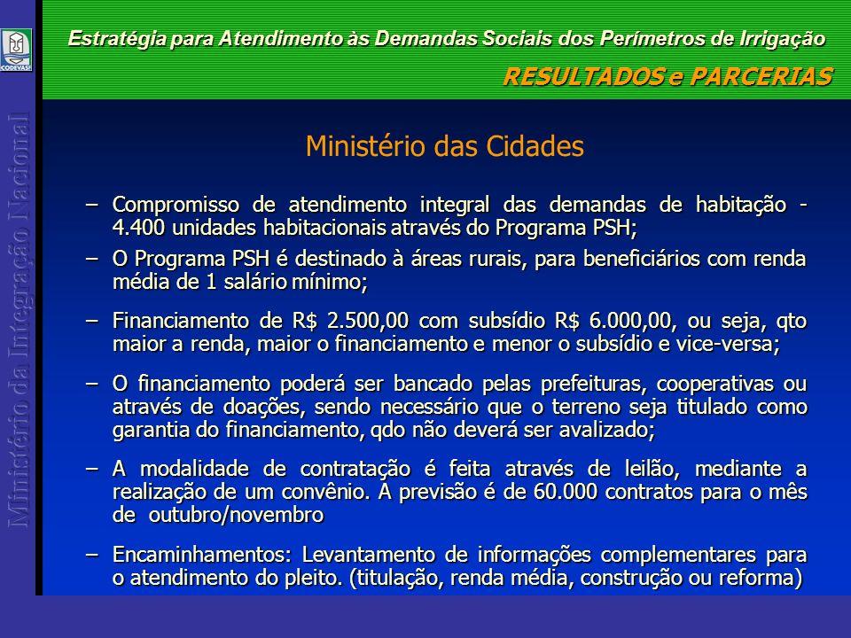 Estratégia para Atendimento às Demandas Sociais dos Perímetros de Irrigação –Compromisso de atendimento integral das demandas de habitação - 4.400 uni