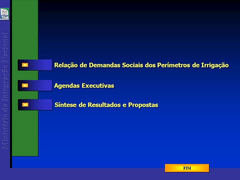 Resíduos Sólidos 2005 - 1ª SR MENU RES.SÓLIDOS MENU RES.SÓLIDOS MENU RES.SÓLIDOS MENU RES.SÓLIDOS Relação de Demandas Sociais dos Perímetros de Irrigação 14TOTAL 48 37 481 1572NºLTS 1150 Instalação de esgoto sanitário e coleta de lixo residencial Janaúba Lagoa Grande – Margem Esquerda 11 Instalação de esgoto sanitário e coleta de lixo residencial Pirapora 2380 Instalação de esgoto sanitário e coleta de lixo residencial Nova PorteirinhaGorutuba 10DEMANDATOTAL 150 / 1740 Instalação de esgoto sanitário e coleta de lixo residencial Matias Cardoso e JaíbaJaíba Nº FAMÍLIAS OBJETIVOMUNICÍPIO PERÍMETRO IRRIG.
