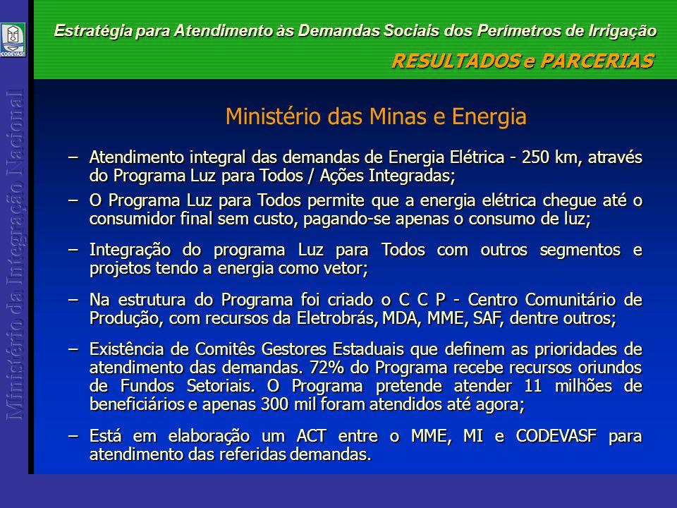 Estratégia para Atendimento às Demandas Sociais dos Perímetros de Irrigação –Atendimento integral das demandas de Energia Elétrica - 250 km, através d