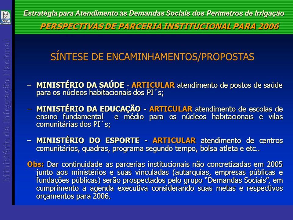 Estratégia para Atendimento às Demandas Sociais dos Perímetros de Irrigação –MINISTÉRIO DA SAÚDE - ARTICULAR atendimento de postos de saúde para os núcleos habitacionais dos PI´s; –MINISTÉRIO DA EDUCAÇÃO - ARTICULAR atendimento de escolas de ensino fundamental e médio para os núcleos habitacionais e vilas comunitárias dos PI´s; –MINISTÉRIO DO ESPORTE - ARTICULAR atendimento de centros comunitários, quadras, programa segundo tempo, bolsa atleta e etc..