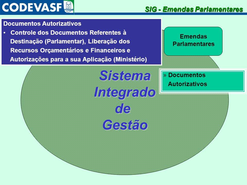 SistemaIntegradodeGestão Emendas Parlamentares SIG - Emendas Parlamentares » Documentos Autorizativos Documentos Autorizativos Controle dos Documentos