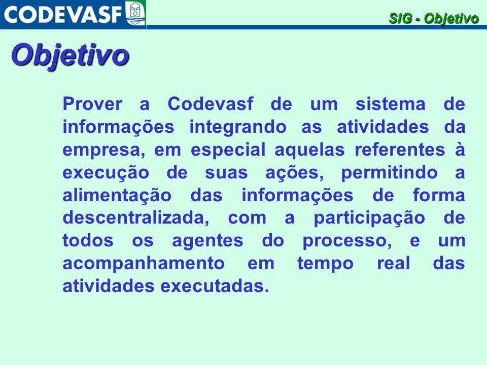 Objetivo Prover a Codevasf de um sistema de informações integrando as atividades da empresa, em especial aquelas referentes à execução de suas ações,