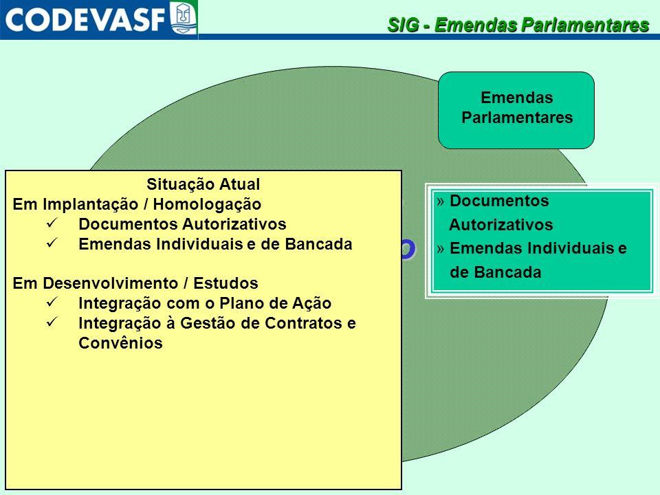 SistemaIntegradodeGestão Emendas Parlamentares » Documentos Autorizativos » Emendas Individuais e de Bancada SIG - Emendas Parlamentares Situação Atua