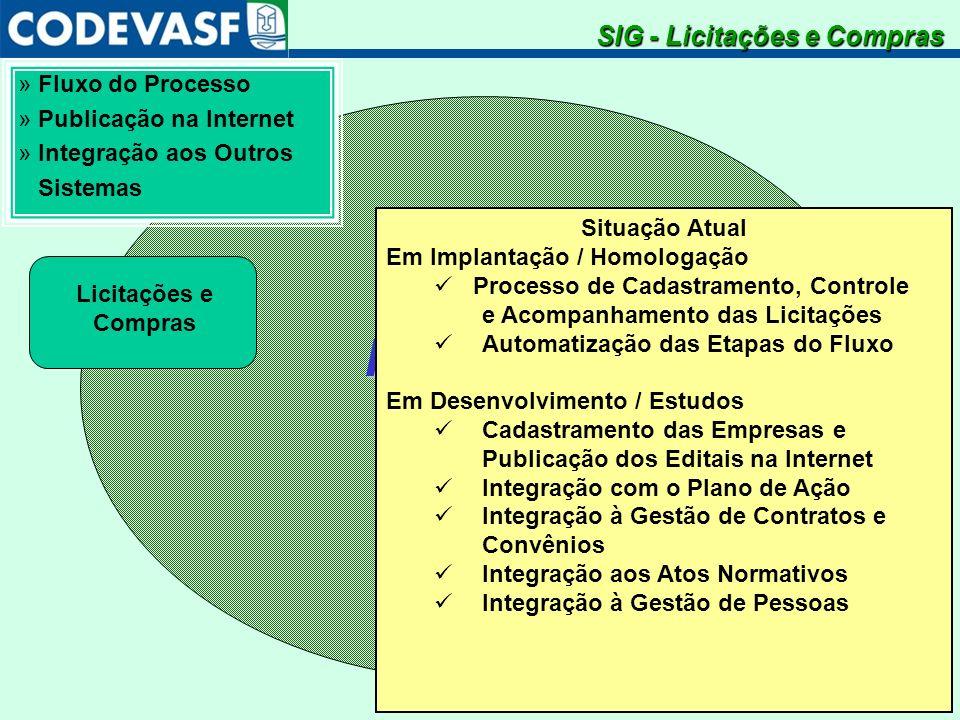 SistemaIntegradodeGestão » Fluxo do Processo » Publicação na Internet » Integração aos Outros Sistemas Licitações e Compras SIG - Licitações e Compras