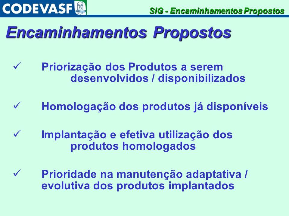 Encaminhamentos Propostos SIG - Encaminhamentos Propostos Priorização dos Produtos a serem desenvolvidos / disponibilizados Homologação dos produtos j