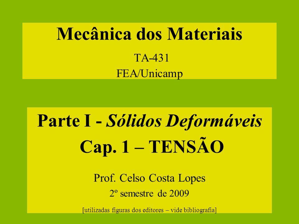 Mecânica dos Materiais TA-431 FEA/Unicamp Parte I - Sólidos Deformáveis Cap. 1 – TENSÃO Prof. Celso Costa Lopes 2º semestre de 2009 [utilizadas figura