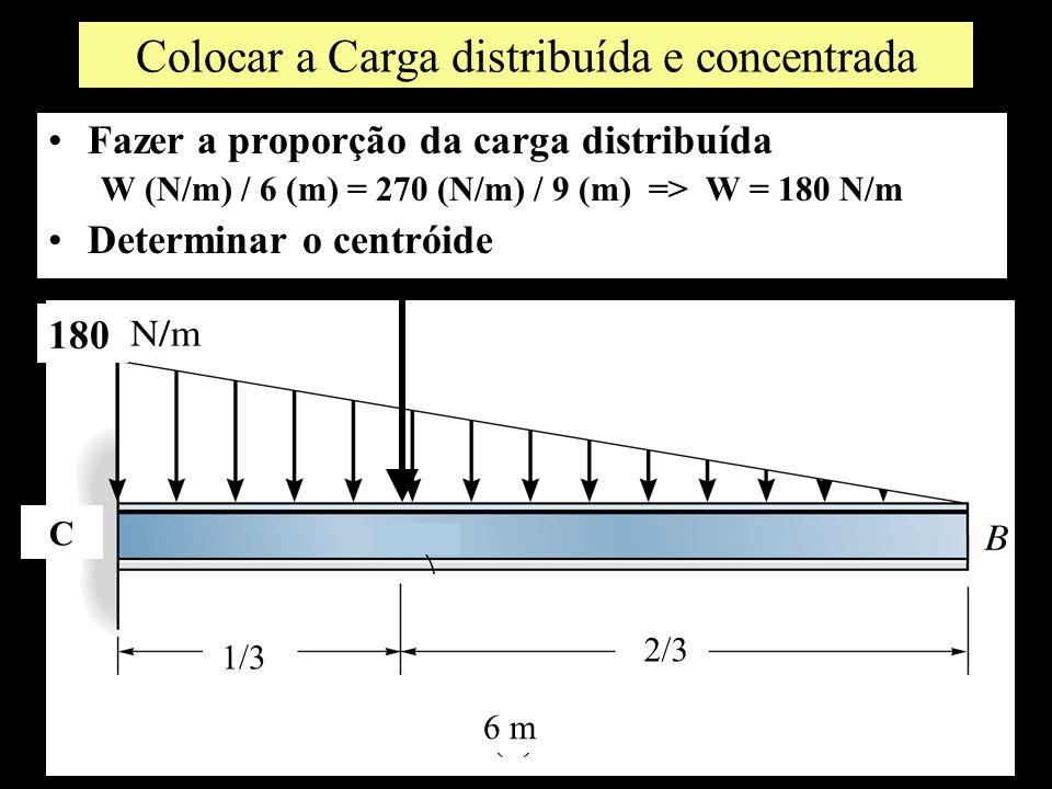 Colocar a Carga distribuída e concentrada Fazer a proporção da carga distribuída W (N/m) / 6 (m) = 270 (N/m) / 9 (m) => W = 180 N/m Determinar o centr