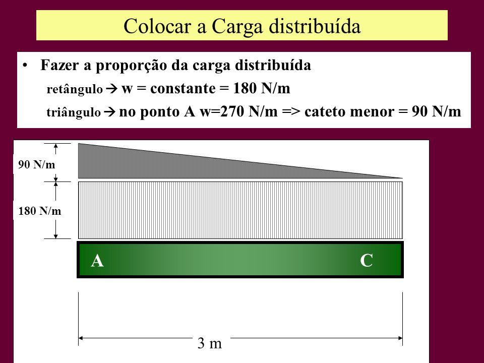 Colocar a Carga distribuída Fazer a proporção da carga distribuída retângulo w = constante = 180 N/m triângulo no ponto A w=270 N/m => cateto menor =