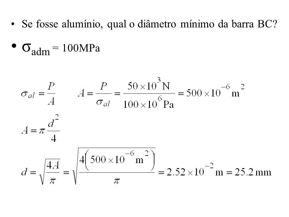 Se fosse alumínio, qual o diâmetro mínimo da barra BC? σ adm = 100MPa