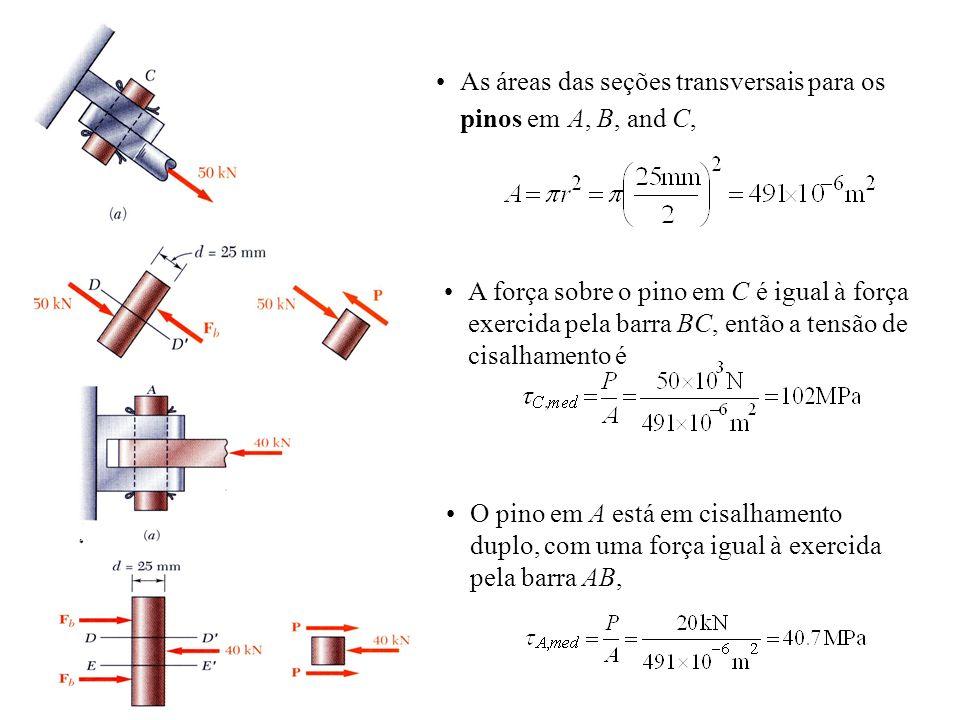 As áreas das seções transversais para os pinos em A, B, and C, O pino em A está em cisalhamento duplo, com uma força igual à exercida pela barra AB, A