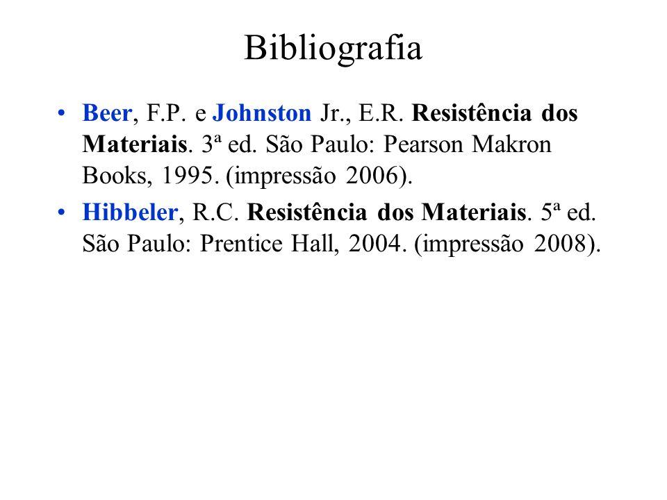 Bibliografia Beer, F.P. e Johnston Jr., E.R. Resistência dos Materiais. 3ª ed. São Paulo: Pearson Makron Books, 1995. (impressão 2006). Hibbeler, R.C.