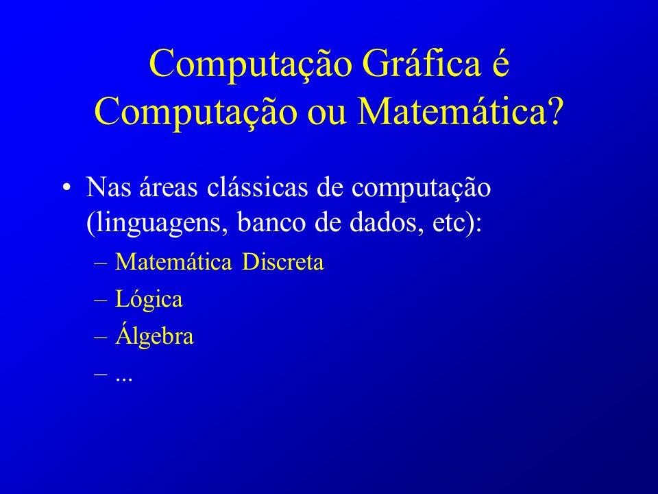 Computação Gráfica é Computação ou Matemática? Nas áreas clássicas de computação (linguagens, banco de dados, etc): –Matemática Discreta –Lógica –Álge