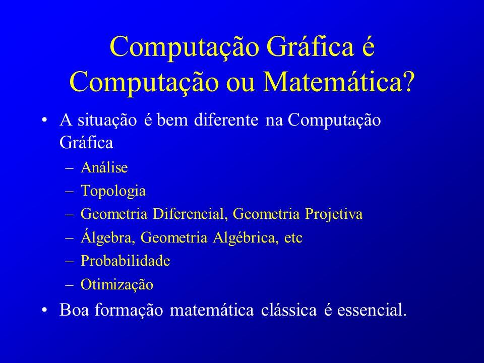 A situação é bem diferente na Computação Gráfica –Análise –Topologia –Geometria Diferencial, Geometria Projetiva –Álgebra, Geometria Algébrica, etc –P