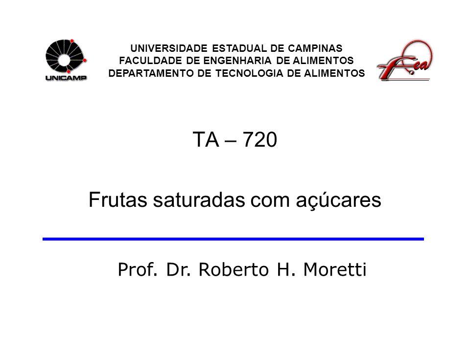TA – 720 Frutas saturadas com açúcares UNIVERSIDADE ESTADUAL DE CAMPINAS FACULDADE DE ENGENHARIA DE ALIMENTOS DEPARTAMENTO DE TECNOLOGIA DE ALIMENTOS