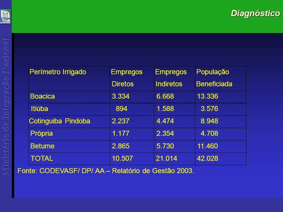 Diagnóstico TOTAL10.50721.01442.028 Fonte: CODEVASF/ DP/ AA – Relatório de Gestão 2003.