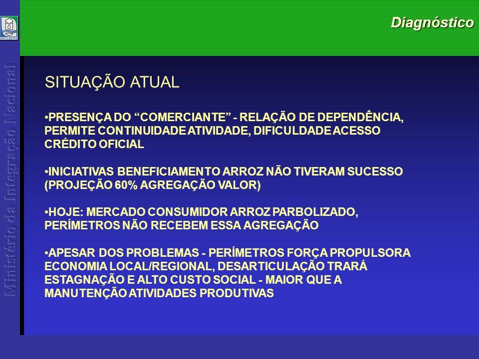Diagnóstico SITUAÇÃO ATUAL PRESENÇA DO COMERCIANTE - RELAÇÃO DE DEPENDÊNCIA, PERMITE CONTINUIDADE ATIVIDADE, DIFICULDADE ACESSO CRÉDITO OFICIAL INICIATIVAS BENEFICIAMENTO ARROZ NÃO TIVERAM SUCESSO (PROJEÇÃO 60% AGREGAÇÃO VALOR) HOJE: MERCADO CONSUMIDOR ARROZ PARBOLIZADO, PERÍMETROS NÃO RECEBEM ESSA AGREGAÇÃO APESAR DOS PROBLEMAS - PERÍMETROS FORÇA PROPULSORA ECONOMIA LOCAL/REGIONAL, DESARTICULAÇÃO TRARÁ ESTAGNAÇÃO E ALTO CUSTO SOCIAL - MAIOR QUE A MANUTENÇÃO ATIVIDADES PRODUTIVAS