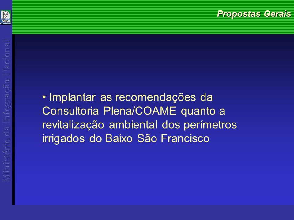 Propostas Gerais Implantar as recomendações da Consultoria Plena/COAME quanto a revitalização ambiental dos perímetros irrigados do Baixo São Francisco