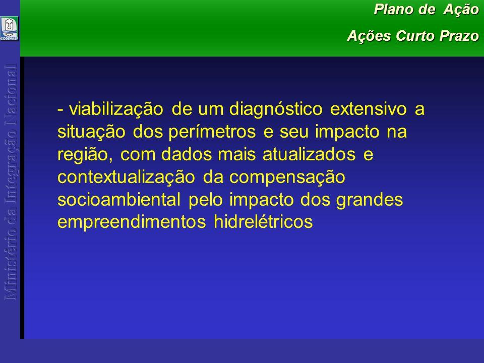 Plano de Ação Ações Curto Prazo - viabilização de um diagnóstico extensivo a situação dos perímetros e seu impacto na região, com dados mais atualizados e contextualização da compensação socioambiental pelo impacto dos grandes empreendimentos hidrelétricos