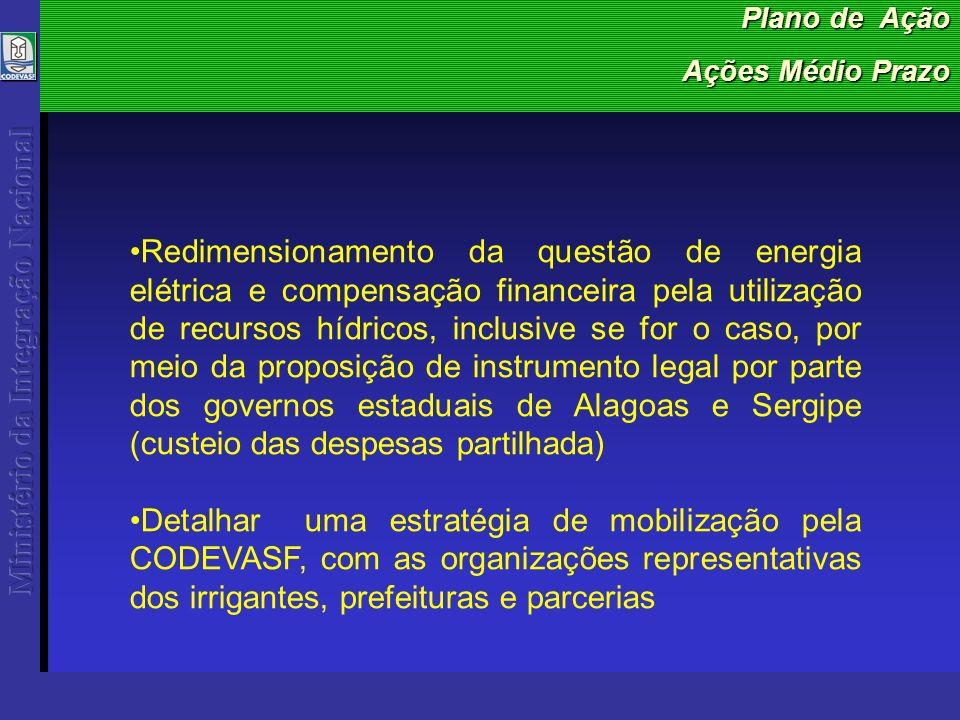 Plano de Ação Ações Médio Prazo Redimensionamento da questão de energia elétrica e compensação financeira pela utilização de recursos hídricos, inclusive se for o caso, por meio da proposição de instrumento legal por parte dos governos estaduais de Alagoas e Sergipe (custeio das despesas partilhada) Detalhar uma estratégia de mobilização pela CODEVASF, com as organizações representativas dos irrigantes, prefeituras e parcerias