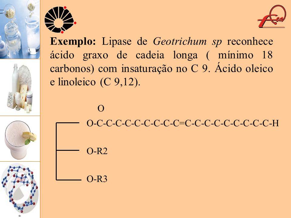 Exemplo: Lipase de Geotrichum sp reconhece ácido graxo de cadeia longa ( mínimo 18 carbonos) com insaturação no C 9. Ácido oleico e linoleico (C 9,12)